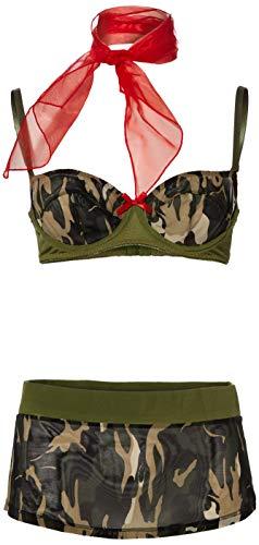 Baci BD1306-S/M leger uniform met BH en rokje in camouflagekleuren met rode halsdoek (small/medium)