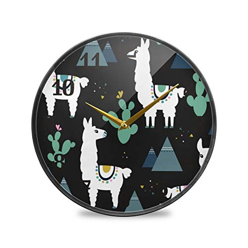 TropicalLife Reloj de pared redondo de BGIFT con llama, diseño étnico de cactus de montaña de 9,5 pulgadas, silencioso, funciona con pilas, silencioso, fácil de leer, para decoración de dormitorio, s