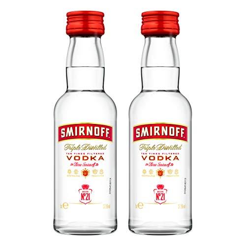 Smirnoff Red No. 21 Premium Vodka Triple Destilled, 2er, Wodka, Alkohol, Alkoholgetränk, Flasche, Miniatur, PET, 40%, 50 ml, 724617