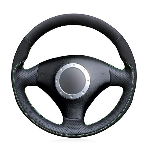 NFRADFM Funda de Volante de Cuero Negro, para Audi A2 8Z A3 8L Sportback A4 B6 Avant A6 C5 A8 D2 TT 8N S3 S4 RS 4 RS 6