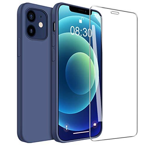 ARRYNN Funda iPhone 12 y 12 Pro 6.1 Pulgadas con Cristal Templado Protector de Pantalla,Azul Ultra Slim Protectora Funda de Silicona Líquida Suave Case Cover para iPhone 12/12 Pro 6.1' - Azul
