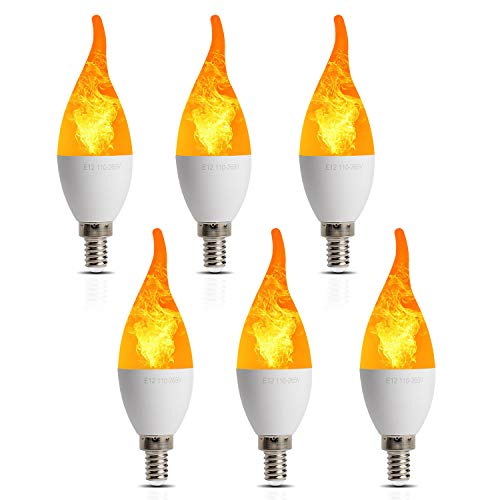 6 Pack LED Simulated Fire Flicker Flame Candelabra Bulbs,Flickering E12 Flame Effect Light,3 Lighting Modes Emulation, General, Breathing,for Indoor and Outdoor Decoration e.g. Home Hotel Bar Party