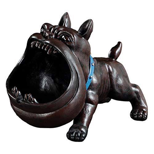 LOVIVER Organizador de Escritorio en Forma de Bulldog Bandeja de Ceniza, Bandeja de Valet Catchall, Organizador de mesita de Noche para Dormitorio, Escultura - Marrón