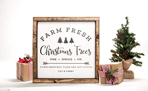 Farm Fresh Christmas Sign in Farmhouse Frame 12in x 12in