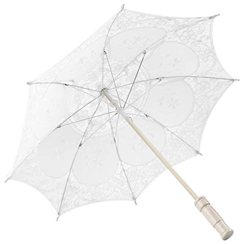 Shipenophy Paraguas Estable y ordenado Paraguas Exquisita Mano de Obra Bordado Paraguas Suficientemente Compacto para Llevar Decoración de celebración Mujer para(White Trumpet)
