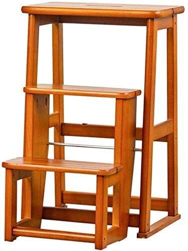 Leiter- Multifunktionale Haushalt Faltschritt Stuhl, Folding Holz 3-Stufenleiter Griffige Küche Schlafzimmer Garage leicht zu lagern Foldable Shelving Schuhmöbel (Farbe 3, 24 × 40 × 60.5cm)