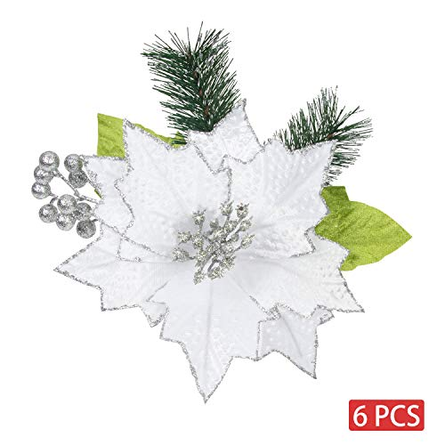 Ki商店圣诞节一品红6pcs人造花挑选圣诞树装饰花圈花环(白色,9英寸)