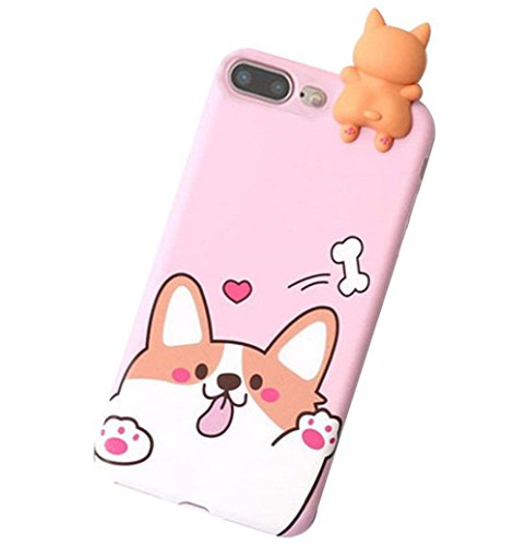 iPhone 8/7 3D Animal Cell Phone TPU Case Cute Welsh Corgi Peeking on Top Slim Flexible Crystal Silicone Protective TPU Gel Skin Case Cover for Apple iPhone 8/7(iPhone 8/7, Corgi Pink)