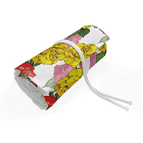 ABAKUHAUS Botanico Trousse à Crayon Enroulable, Romantic Flowers Motivi, Organisateur de Crayon Durable & Portatif, 48 Trous, Multicolore