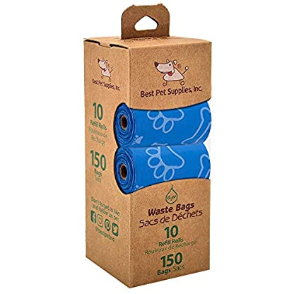 Best Pet Supplies Dog Poop Bags, Rip-Resistant and Doggie Waste Bag Refills with d2w Controlled-Life Plastic Technology - Pack of 150, Blue (Unscented) 2