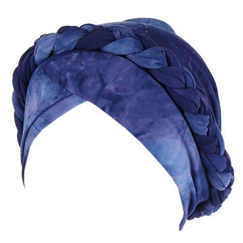 Chemo Cancer Head Hat Cap Ethnic Bohemia Pre-Tied Twisted Braid Hair Cover Wrap Turban Headwear (A Tie Dye Royal Blue)