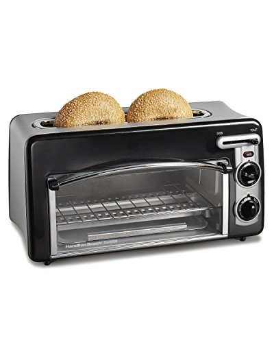 Hamilton Beach Toastation Oven with 2-Slice Toaster Combo, Ideal for Pizza, Chicken Nuggets, Fries and More (22708), Black