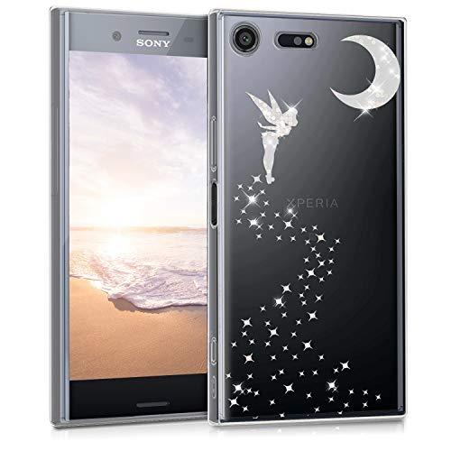 kwmobile Funda Compatible con Sony Xperia XZ Premium - Carcasa de TPU Hada Brillante en Plata/Transparente