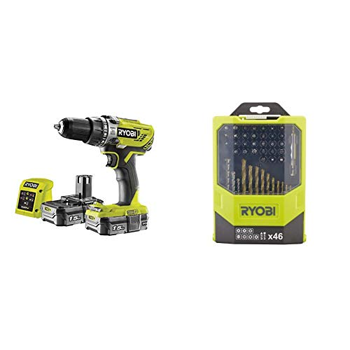 Ryobi 18 V ONE+ Cordless Combi Drill Starter Kit and Mixed Drilling and Driving Bit Set, 46 Piece