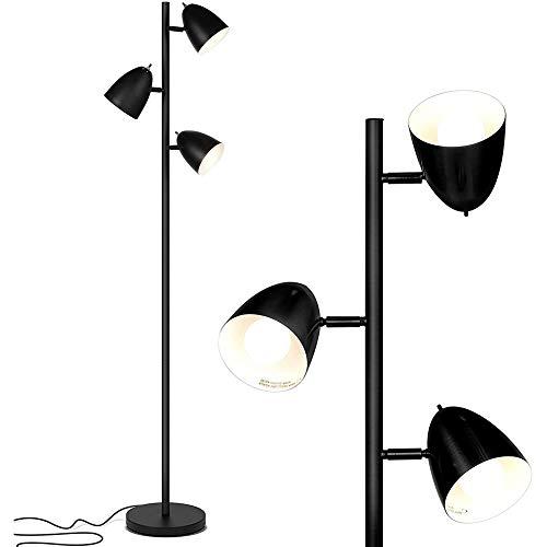 Lámpara LED de lectura y pie – Lámpara de poste alto con 3 bombillas LED – Negro clásico – Elegante árbol de mediados de siglo moderno ajustable 3 luces