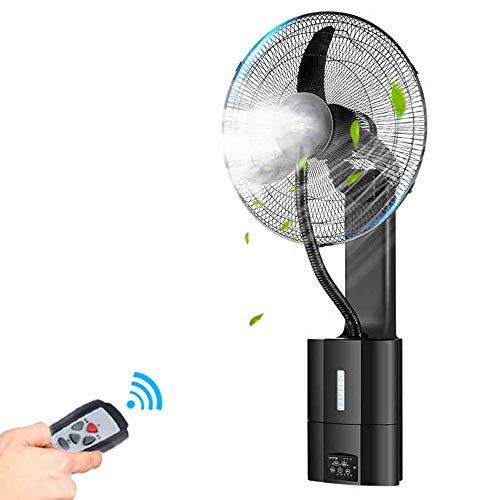 JIAYUAN Ventilador nebulizador Ventilador tipo rociador para montaje en pared, con control remoto 3 velocidades silenciosas, oscilación extendida de 90 ° y sincronización de 7,5 h para uso industrial,