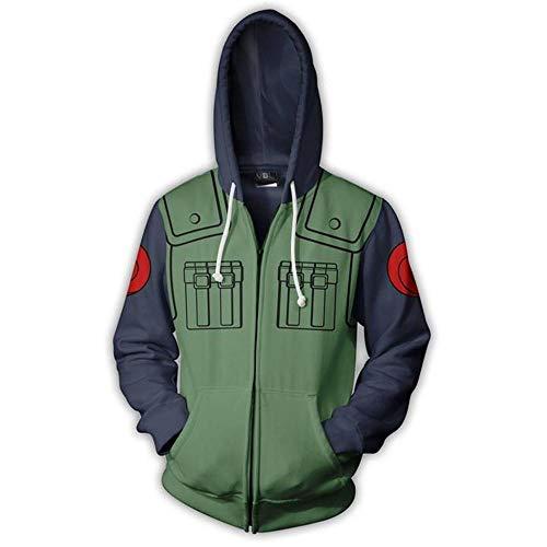 Gosvet 3D Hoodie Sweatshirt Mit Kapuze Sweatshirt Anime HD Druck Sportbekleidung Unisex Tops Reißverschluss Jacke Naruto Hatake Kakashi XS
