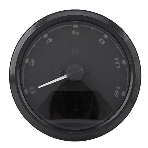 Qiilu 12000RMP LCD Numérique Tachymètre Compteur Indicateur De Vitesse Pour Moto Scooter ATV