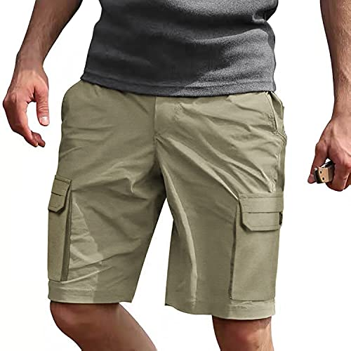 Tinkwell Mens Relaxed Fit Cargo Shorts Elastic Waist Summer Classic Casual Short Khaki 34