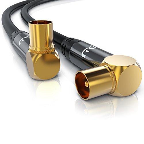 Primewire - 5m HDTV Antennenkabel 75 Ohm 90 Grad gewinkelt - Koax Stecker auf Koax Kupplung - DVB-T und DVB-T2 Radio UKW DAB DAB - robuste Vollmetallstecker - hochdichte Schirmung