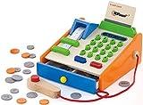 Top Race Juguete de madera de 30 piezas, caja registradora con Play Toy...