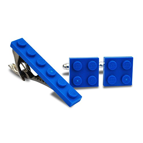 LEGO® Teller Manschettenknöpfe und Krawatte Clip Set (blau) Hochzeit, Groom, Herren Geschenk