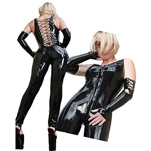 Body Sexy de Mujer, Charol Teddy Lingerie Faux Wet Look Clubwear Corte Alto Sin Mangas Catsuit Vendaje Cremallera Leotardo Ropa de Dormir,Black
