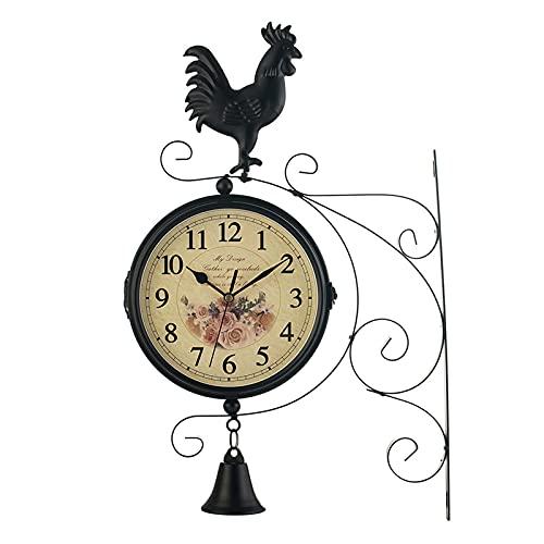 AMYZ Relojes de Cuarzo,Relojes Retro de jardín al Aire Libre,Reloj de Pared de Doble Cara Reloj con Soporte Retro,Reloj de Pared Que no Hace tictac Negro