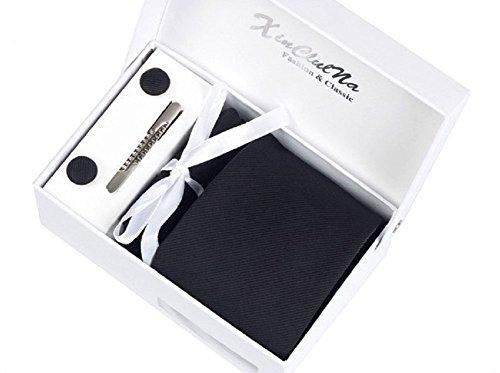 S.R HOME Coffret Cadeau Ensemble Cravate homme, Mouchoir de poche, épingle et boutons de manchette Noir