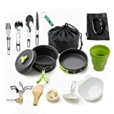 CYX-COOK Juego de Utensilios de Cocina para Acampar - 18 PCS Juego de Utensilios de Cocina para Caminatas Antiadherente para Acampar al Aire Libre Sartenes,Green