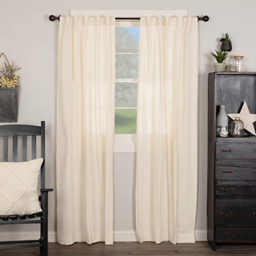 """Brooke Long Simple Panel Curtains, Set of 2, 84"""" Long, Natural Cream Linen Linen/Cotton Blend, Modern Country Urban Farmhouse Style Drapes for Bedroom, Living Room Window"""