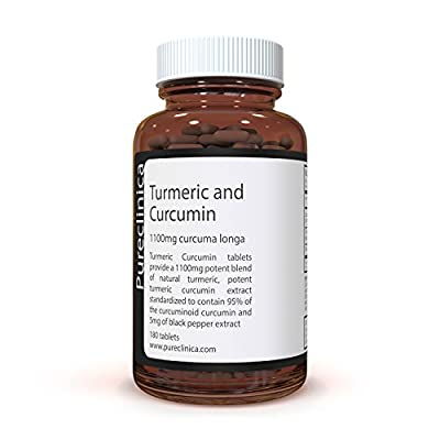 1100mg Turmeric and Curcumin - 180 tablets x 1100mg - 95% Curcumin - 1000mg Turmeric root extract containing naturally occurring curcuminoinds, and 95% curcumin - With 5mg black pepper extract for 300% increased absorption. SKU: TUCR from Pureclinica