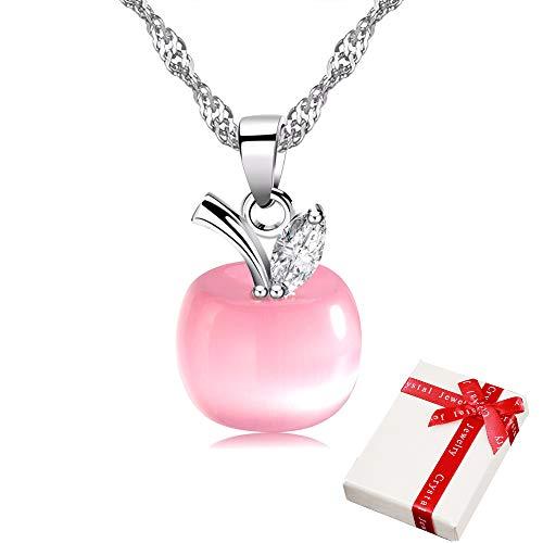 Colgante de cadena mujer con forma manzana rosa diamantes imitación para mujeres adolescentes...