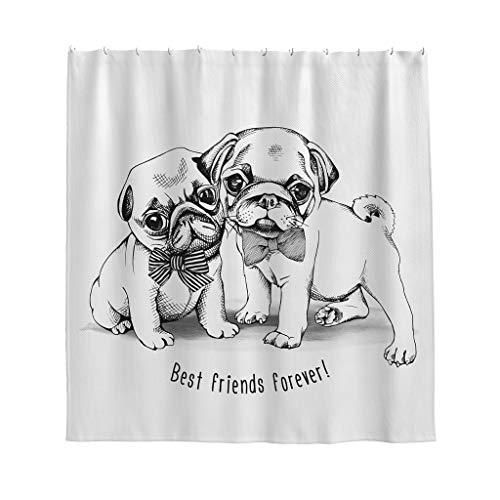 Gamoii Reizendes Bulldoggen Mops Hunde Tier Duschvorhang Bad Vorhang Bedruckt Schlafsaal Vorhang Easy Installieren Duschvorhänge mit Vorhanghaken White 120x200cm