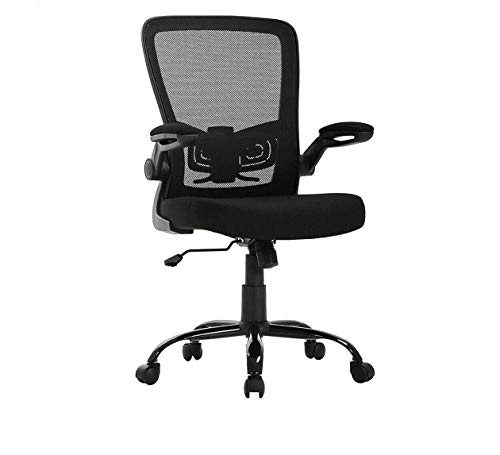 SuccessfulHome Ergonomic Office Chair, Home Office Chair Desk, Height Middle Back Mesh Drafting Chair, Adjustable Backrest and Flip-up Armrests, Computer Chair with Lumbar Support, Black