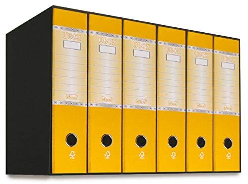Elica UBOX - Kit 6 Raccoglitori ad anelli a4 dorso 8 con Meccanismo a Leva, Raccoglitore Cartonato, Formato Commerciale, Registratore, Faldone Porta Documenti Favorit (Giallo)