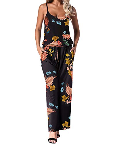 Auxo Damen Ärmellos Lange Jumpsuit Rückenfrei Overall Blumen Romper Hohe Taille Einteiler 011- Blumen4 X-Large