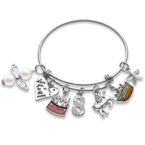 Hicarer Birthday Bracelet Adjustable Birthday Charm Bangle Bracelet Expandable Birthday Pendant Bracelet with Box and Card for Women Girls Birthday (8th)