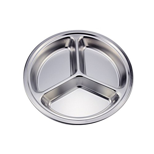 Anndeeson 3 Sections Stainless Steel Round Dish Divided Fast Food Plate