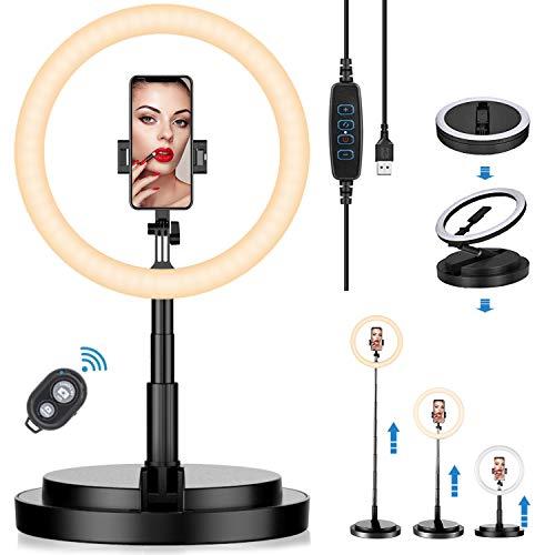 Led Ringlicht 11,5 Zoll Selfie Ringleuchte Tragbare Falten Dimmbare 3 Farbe und 10 Helligkeitsstufen Tischringlicht mit Bluetooth für Make-up,Live-Streaming, YouTube, Tiktok, Foto und Video usw