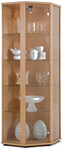BR-Wohndesign Glasvitrine Sammlervitrine Eckvitrine Vitrine in Buche (Dekor) mit 4 Glaseinlegeböden Nicht höhenverstellbar und Beleuchtung