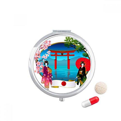 DIYthinker Kimono Meisje Japan Cultuur Paraplu Reizen Pocket Pil geval Medicine Drug Opbergdoos Dispenser Spiegel Gift