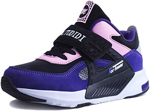 Sneakers Enfant Baskets Montantes Garcon Chaussures de Course Mode Garcon Fille Sport Running Shoes Competition Entrainement ,32 EU,Violet Noir