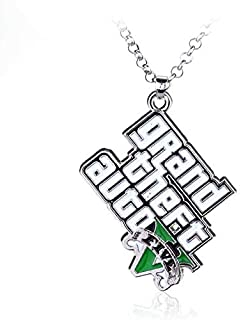 Ps4 GTA 5 Game Cs Necklace Grand Theft Auto 5 Alloy Pendent Necklace Gift for Fans Rock Star Necklace Holder Movie Jewelry
