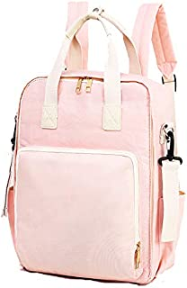 Unigear Diaper Bag Travel Backpack Large Capacity Tote Shoulder Nappy Bag Organizer for Baby Care with Insulated Pockets, Waterproof Fabric (Baby Pink)