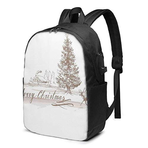 XCNGG Christmas Tree Printed Travel Lightweight Backpack with USB Charging Port & Headphone Port