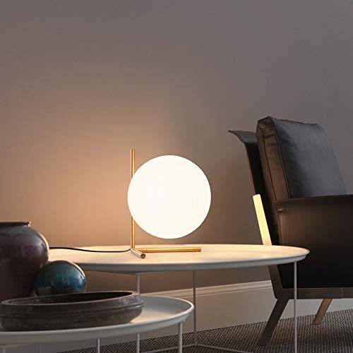 Yhongyang Glaskugel LED Tischlampe Nordic kreative Moderne minimalistische Wohnzimmer Esszimmer Studie Schlafzimmer Nachttischlampe,B