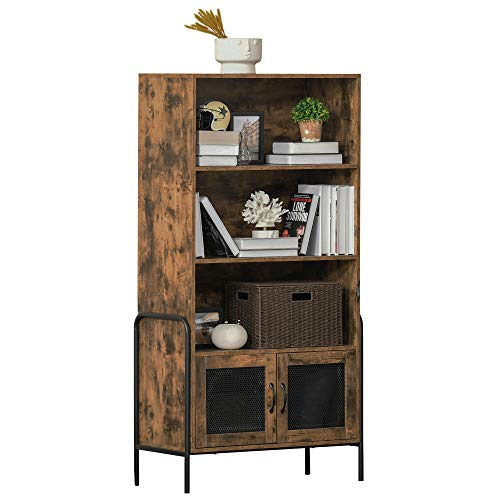 HOMCOM 4-Tier Bookcase Display Shelf Unit and Cabinet with Steel Leg Home Furniture Study Office Living Room Bedroom Rustic Brown