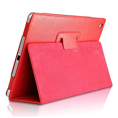 Custodia per iPad Mini 3/ Mini 2/ Mini 1, FANSONG Bifold Series Litchi Stria Ultra Sottile Magnetico PU Smart Cover con Stare in Piedi, Funzione Sleep per Apple iPad Mini 1/2/3,Rosso