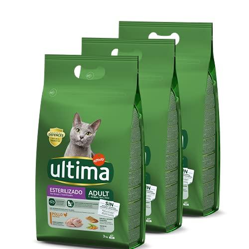 ultima Pienso para Gatos Esterilizados con Pollo - 3 x 3kg: Total 9kg